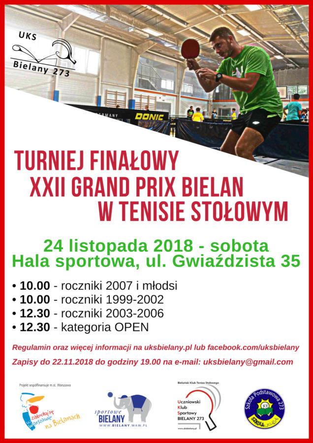 Plakat turnieju XXII Grand Prix Bielan w Tenisie Stołowym- Turniej FINAŁOWY