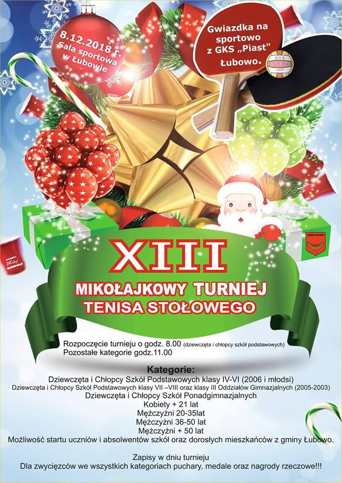 Plakat turnieju XIII MIKOŁAJKOWY TURNIEJ TENISA STOŁOWEGO W ŁUBOWIE