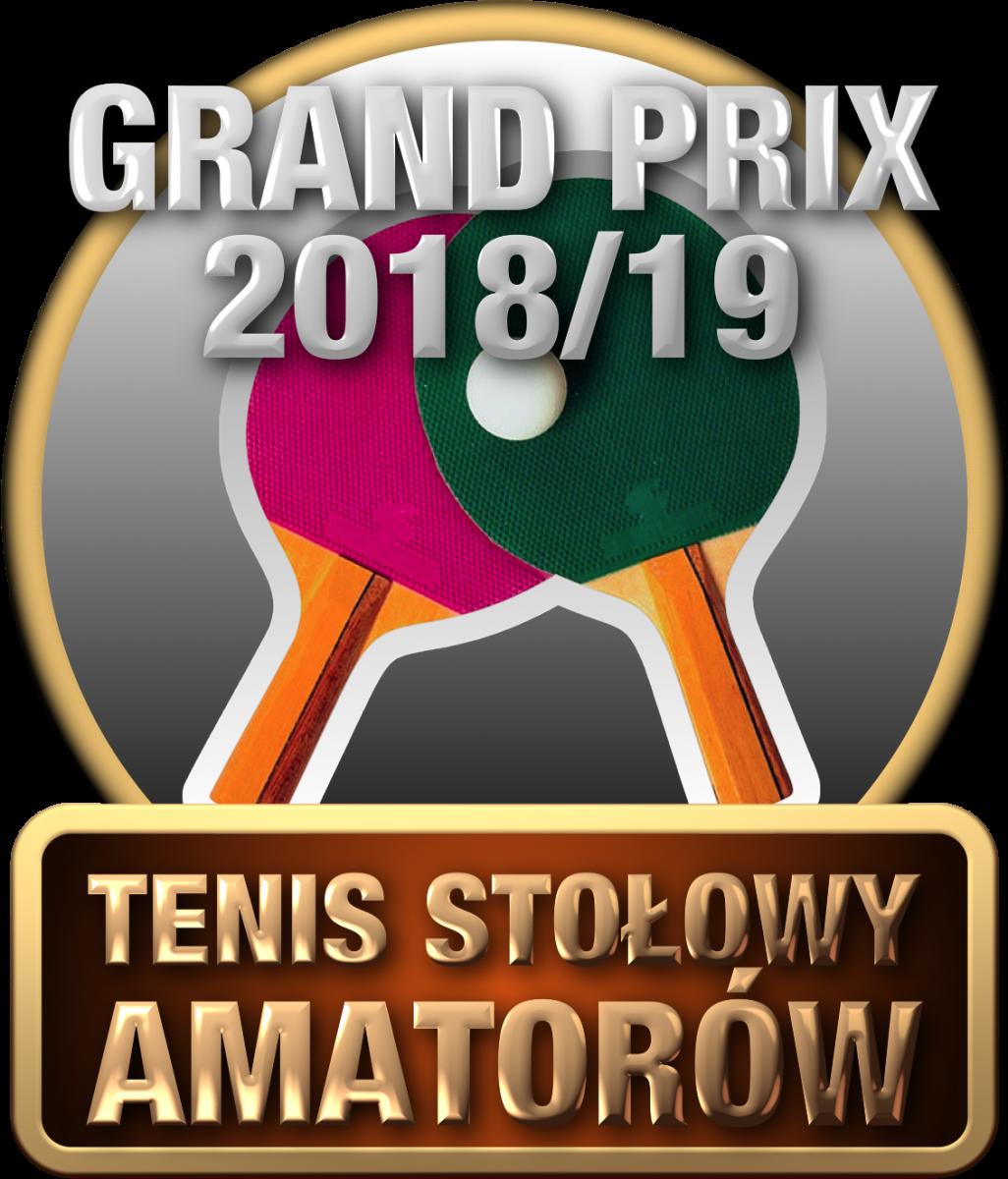 Plakat turnieju GRAND PRIX Ostrów Mazowiecki w tenisie stołowym amatorów 2018/2019- piąty turniej (FINAŁ)