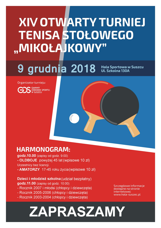 Plakat turnieju XIV Otwarty Turniej Tenisa Stołowego