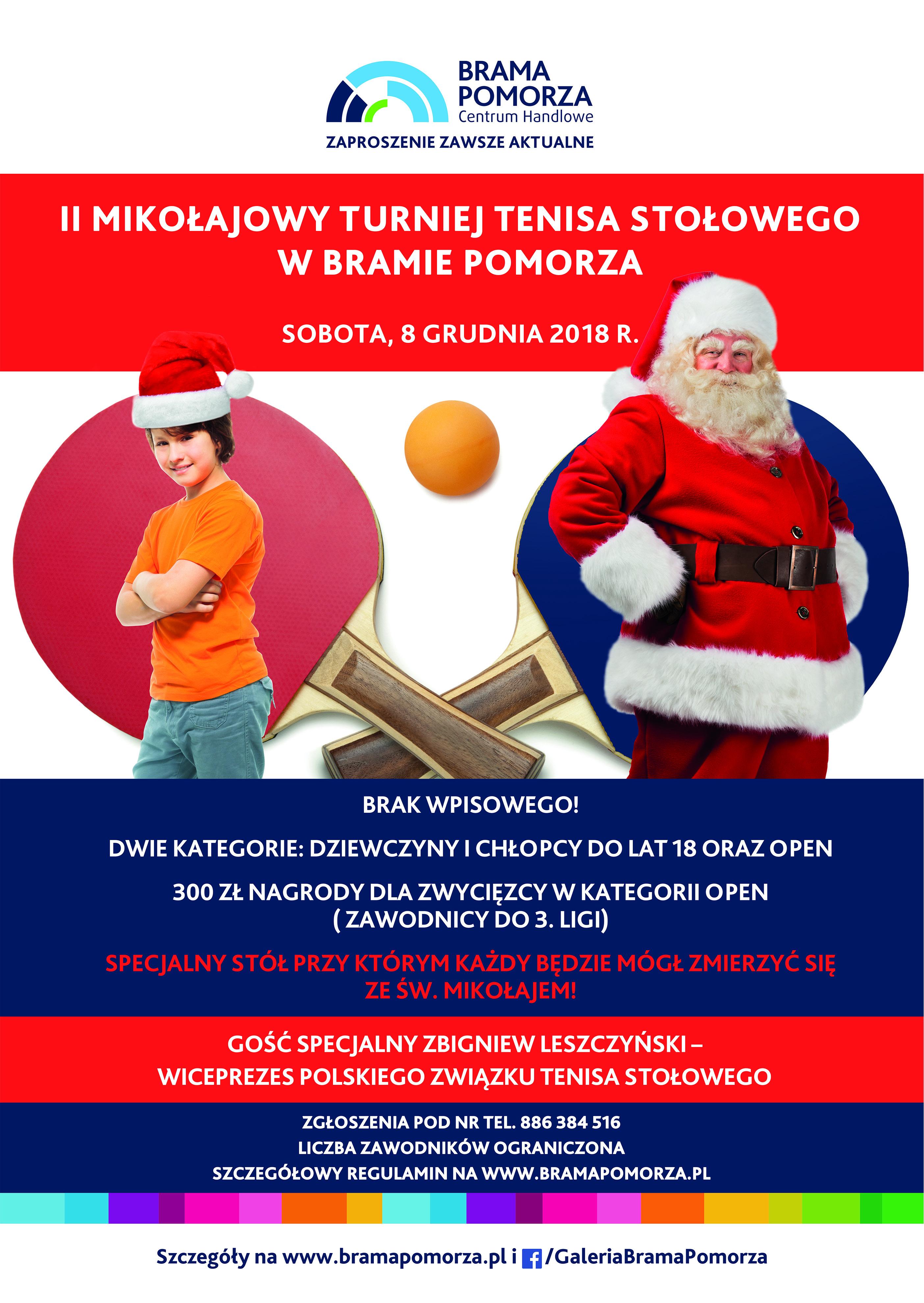 Plakat turnieju Mikołajkowy Turniej Tenisa Stołowego w Bramie Pomorza (III Otwarte Mistrzostwa o Puchar CH Bramy Pomorza)