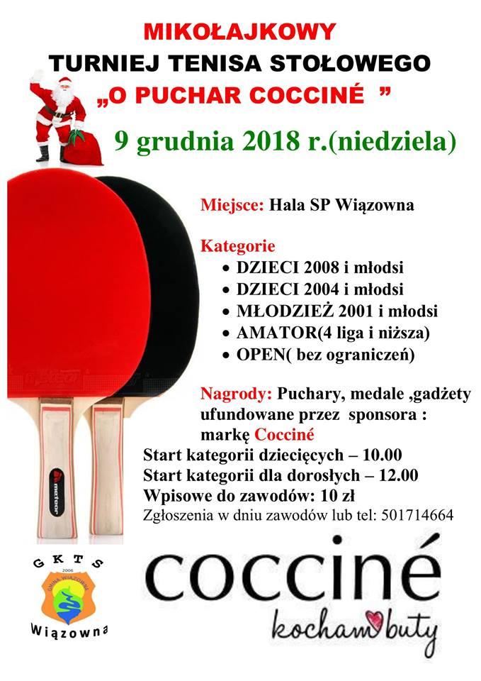 """Plakat turnieju Mikołajkowy Turniej Tenisa Stołowego o Puchar """"COCCINE"""""""