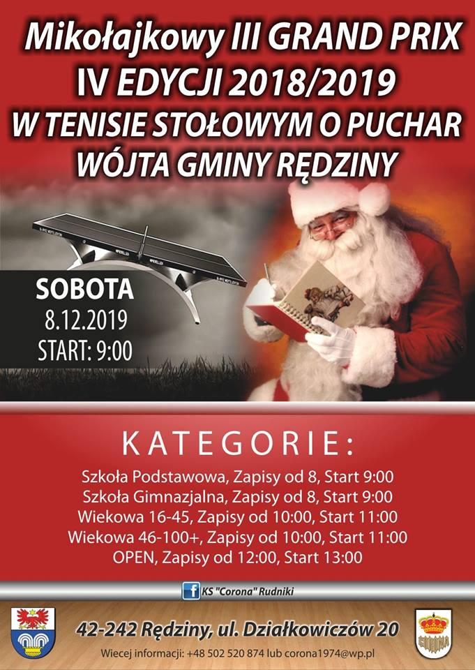 Plakat turnieju Mikołajkowy III Grand Prix IV edycji 2018/2019 w Tenisie Stołowym o Puchar Wójta Gminy Rędziny.