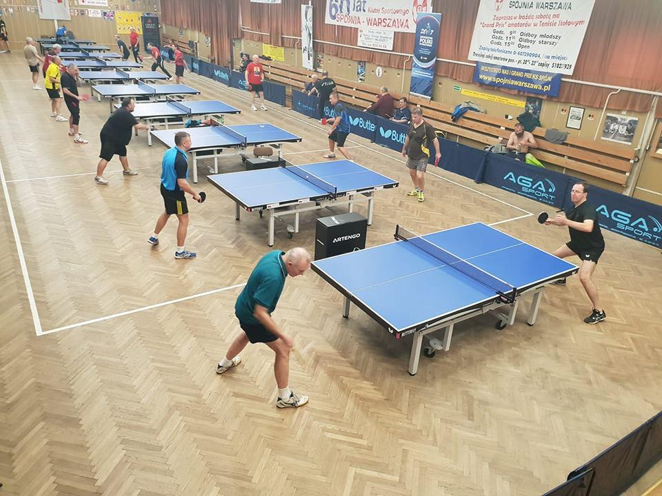 Plakat turnieju 18 Grand Prix K.S. Spójnia Warszawa w tenisie stołowym  - zakończenie 2018 roku