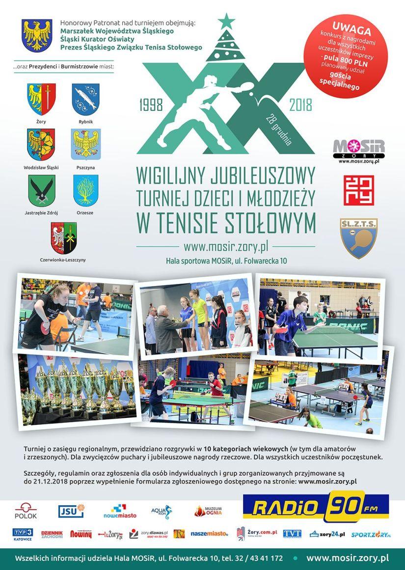 Plakat turnieju XX Wigilijny Turniej Dzieci i Młodzieży w Tenisie Stołowym