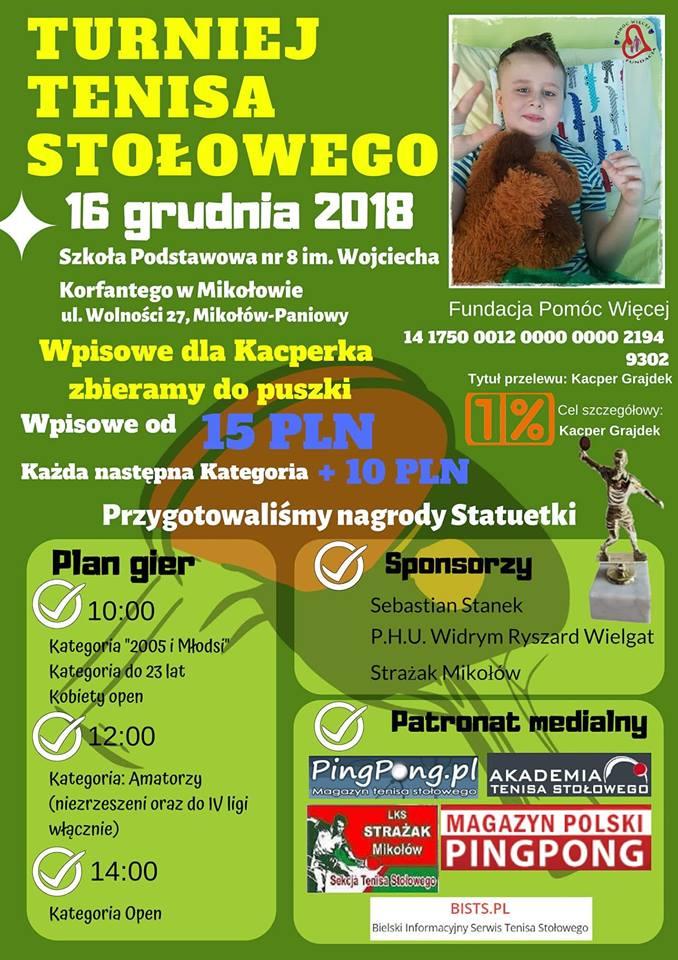 """Plakat turnieju Turniej Tenisa Stołowego (""""Dla Kacperka"""")"""