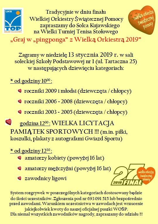 """Plakat turnieju Graj w """"pingponga"""" z Wielką Orkiestrą 2019"""