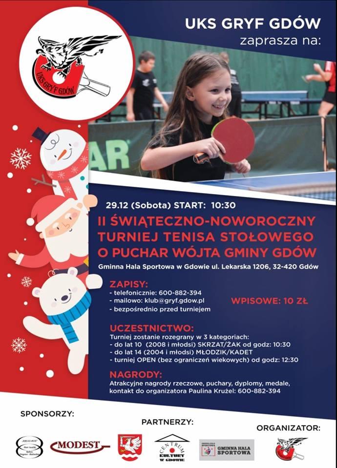 Plakat turnieju II Świąteczno-Noworoczny Turniej Tenisa Stołowego o Puchar Wójta Gminy Gdów  - zakończenie 2018 roku