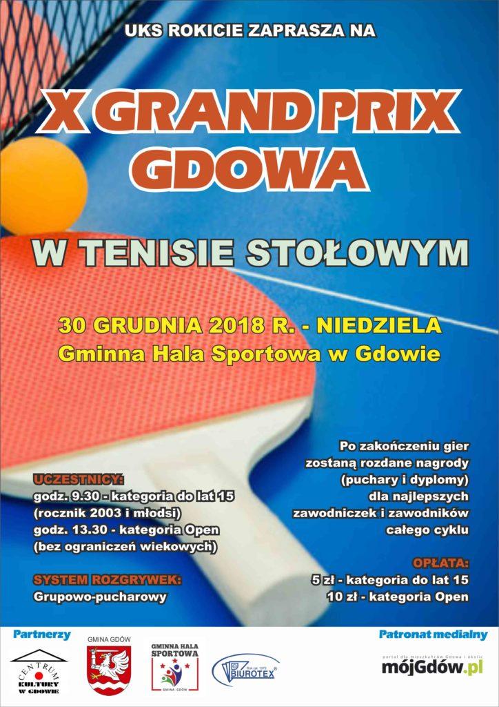 Plakat turnieju X Grand Prix Gdowa 2018  - zakończenie 2018 roku