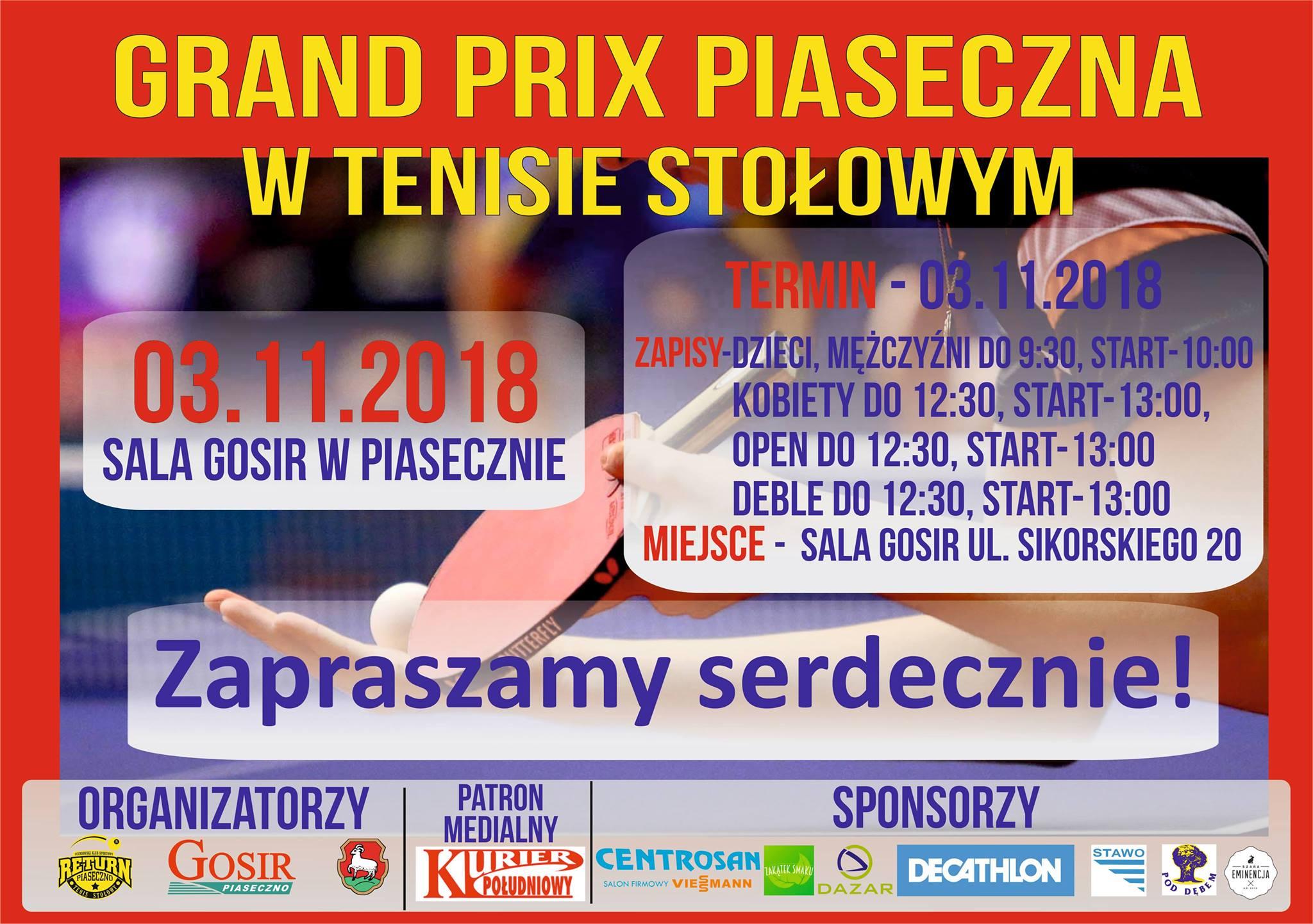 Plakat turnieju V Grand Prix Piaseczna w tenisie stołowym XXI edycji