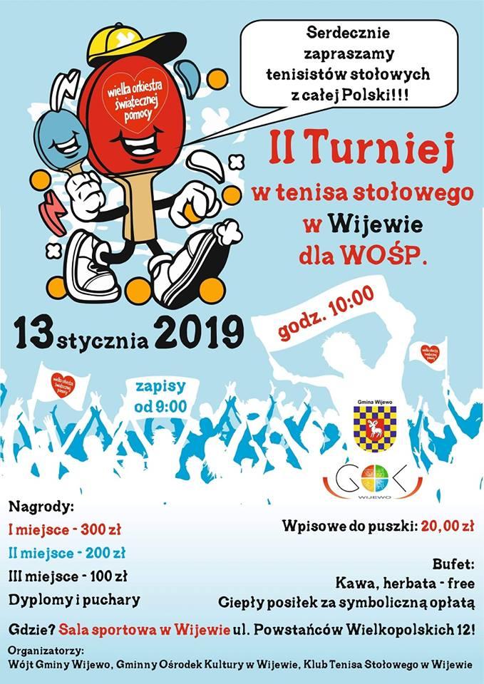 Plakat turnieju Turniej WOŚP w Wijewie