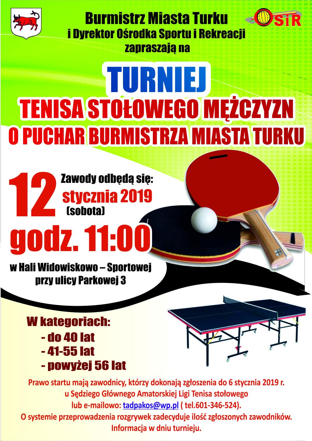 Plakat turnieju Turniej tenisa stołowego Mężczyzn o Puchar Burmistrza Miasta Turku