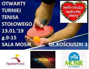 Plakat turnieju OTWARTY TURNIEJ TENISA STOŁOWEGO w Radomsku