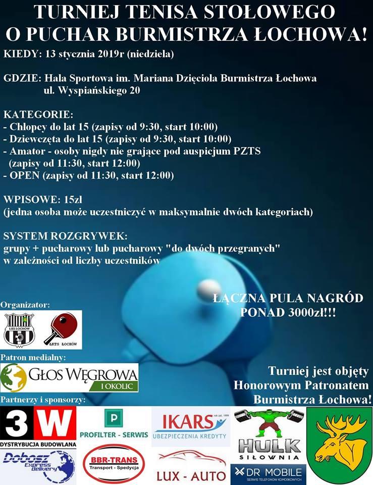 Plakat turnieju Turniej Tenisa Stołowego o Puchar Burmistrza Łochowa