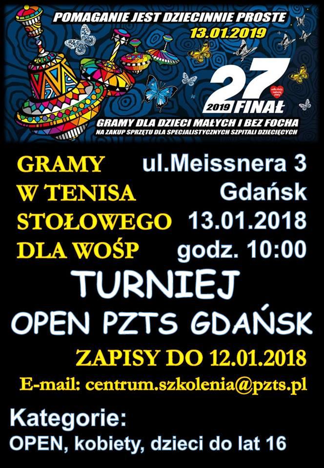 Plakat turnieju OPEN PZTS GDAŃSK Gramy w tenisa stołowego dla WOŚP- 1 turniej