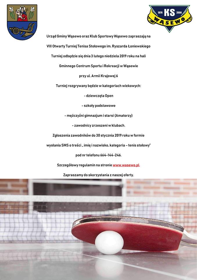 Plakat turnieju VIII Otwarty Turniej Tenisa Stołowego im. Ryszarda Łoniewskiego