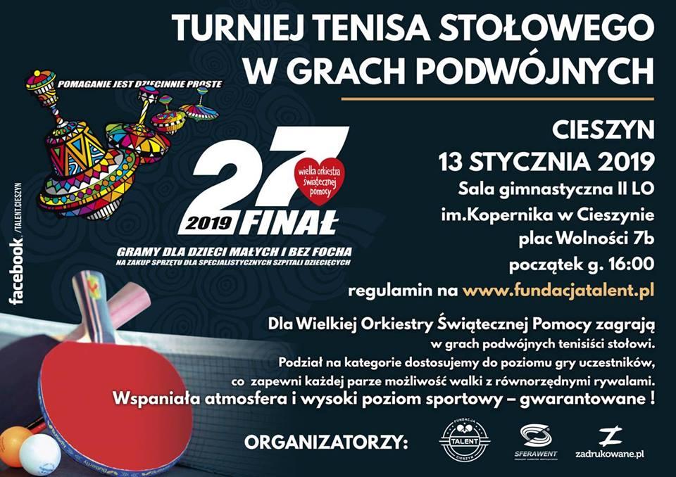 Plakat turnieju TURNIEJ TENISA STOŁOWEGO W GRACH PODWÓJNYCH- dla WOŚP