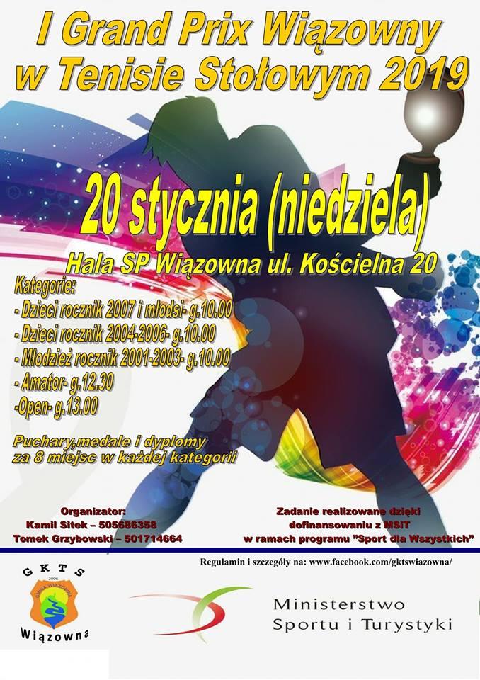 Plakat turnieju I Turniej Grand Prix Wiązowny w Tenisie Stołowym 2019