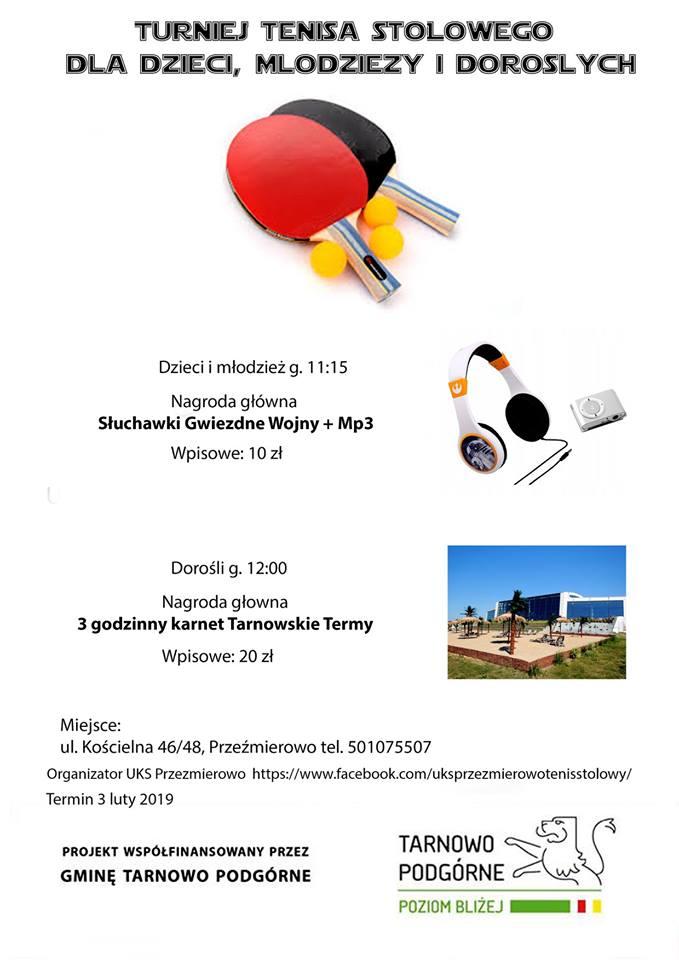 Plakat turnieju Turniej  Tenisa Stołowego dla Dzieci, Młodzieży i Dorosłych- Przeźmierowo