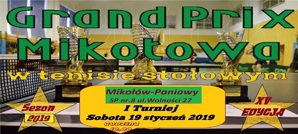 Plakat turnieju I turniej Grand Prix Mikołowa w tenisie stołowym