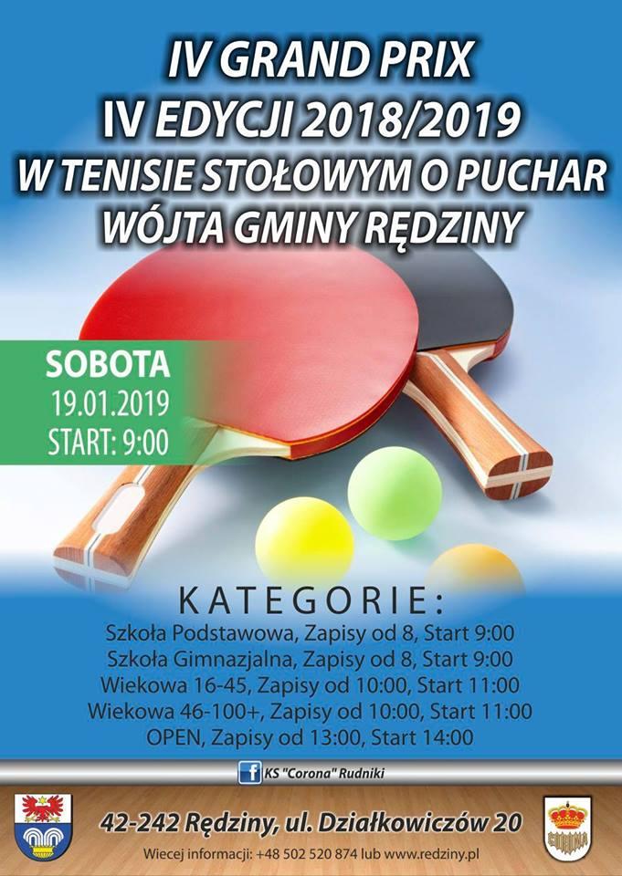 Plakat turnieju IV Grand Prix IV edycji 2018/2019 w Tenisie Stołowym o Puchar Wójta Gminy Rędziny
