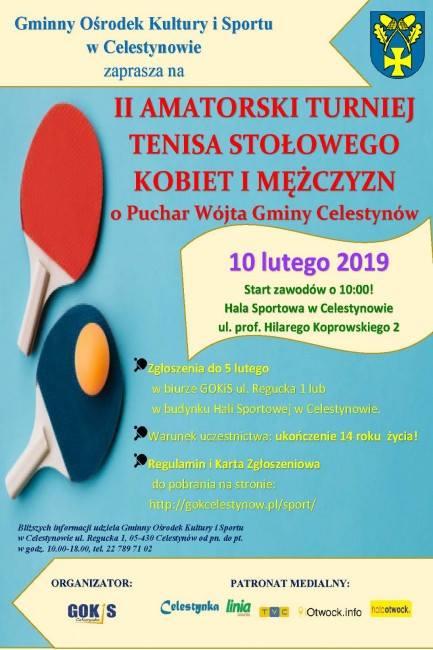 Plakat turnieju II AMATORSKI TURNIEJ TENISA STOŁOWEGO KOBIET I MĘŻCZYZN O PUCHAR WÓJTA GMINY CELESTYNÓW