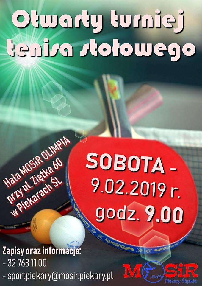 Plakat turnieju Otwarty Turniej Tenisa Stołowego 2019- Piekary Śląskie