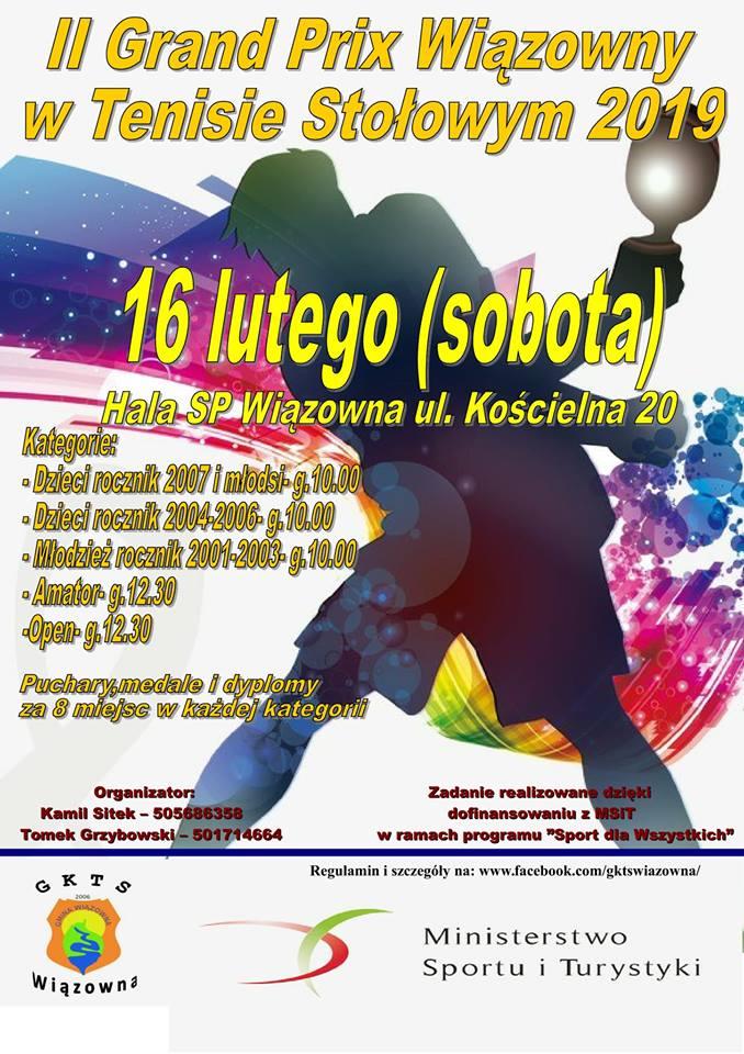 Plakat turnieju II Turniej Grand Prix Wiązowny w Tenisie Stołowym 2019