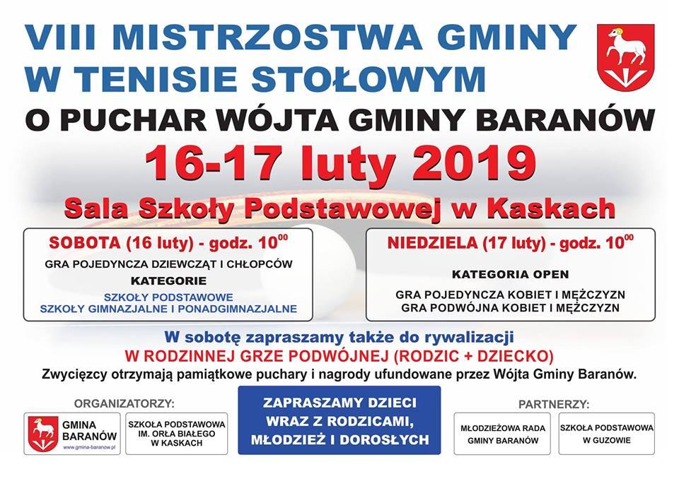 Plakat turnieju VIII Mistrzostwa Gminy w tenisie stołowym- o Puchar Wójta Gminy Baranów