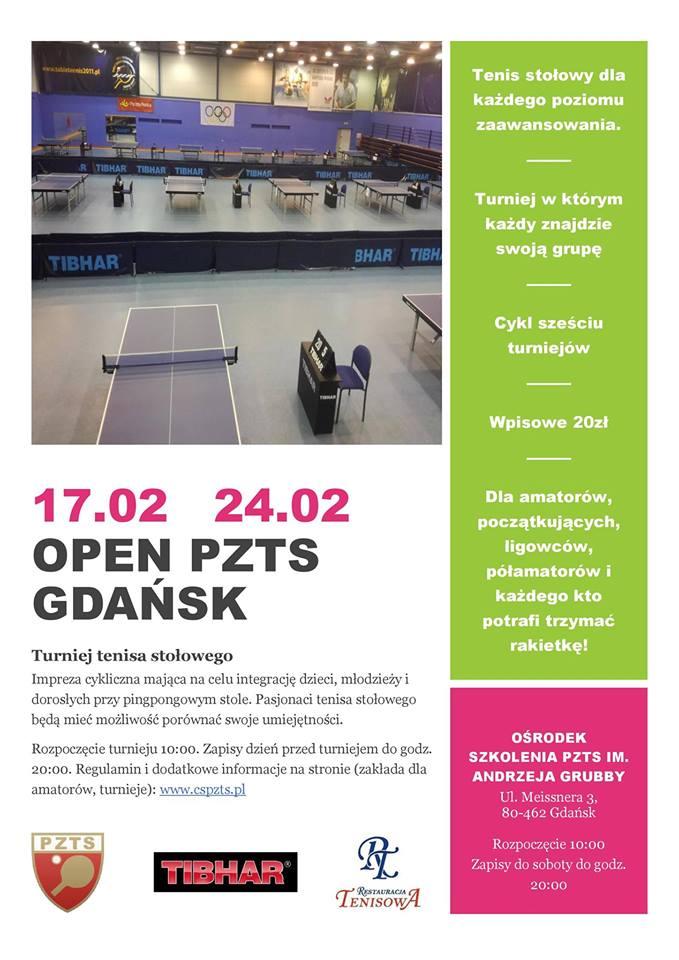 Plakat turnieju OPEN PZTS GDAŃSK - 2 turniej