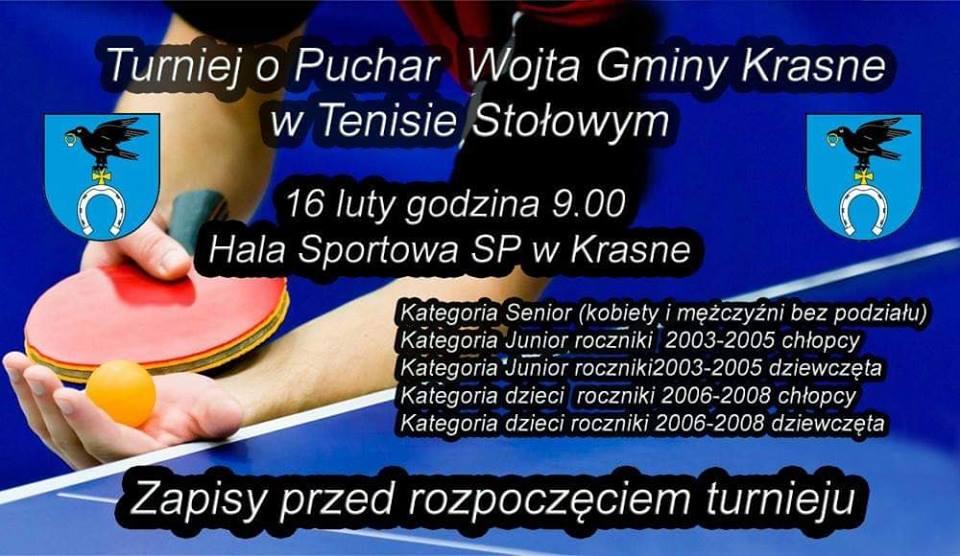 Plakat turnieju O Puchar Wójta Gminy Krasne w tenisie stołowym 2019