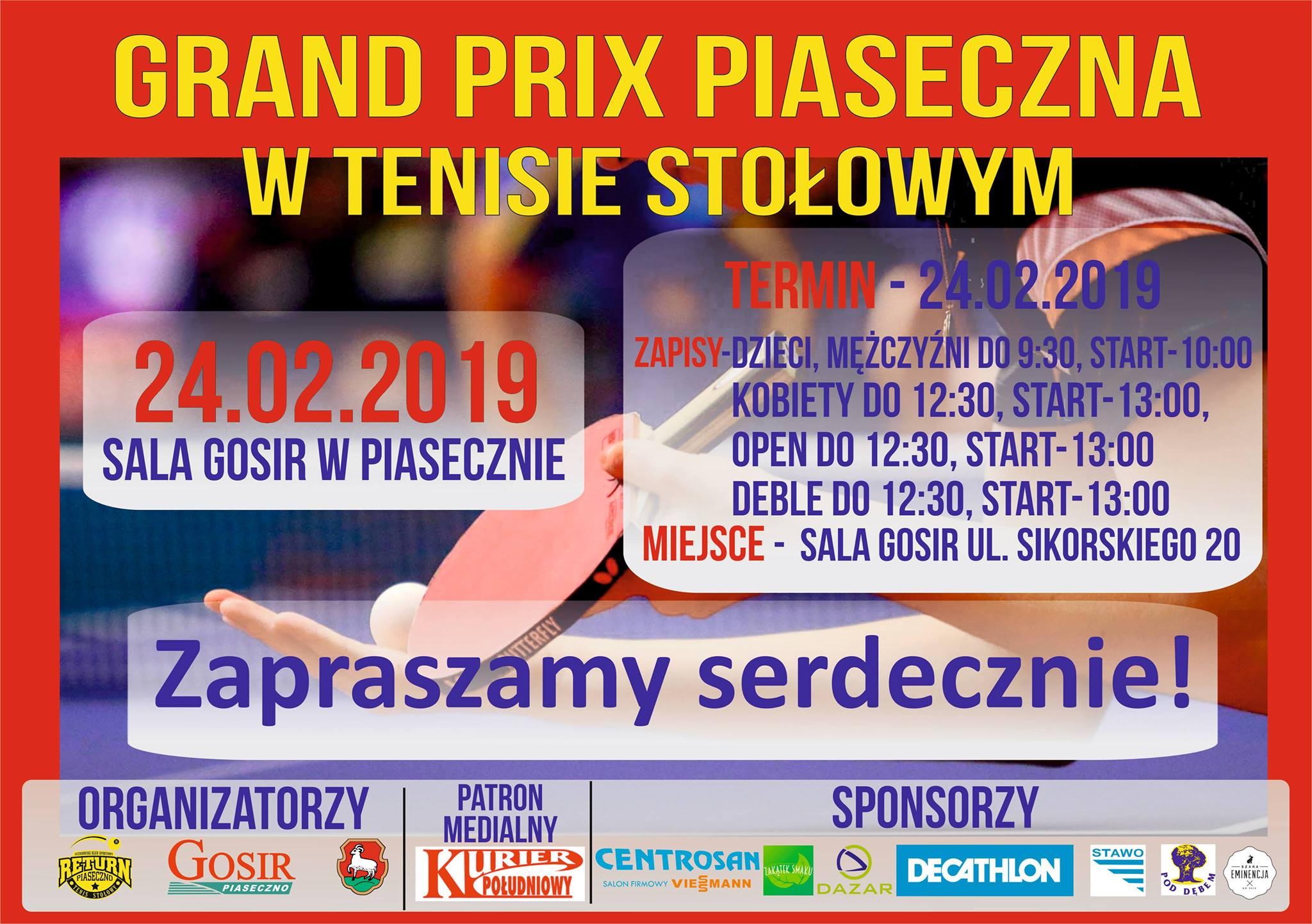 Plakat turnieju VI Grand Prix Piaseczna w tenisie stołowym XXI edycji