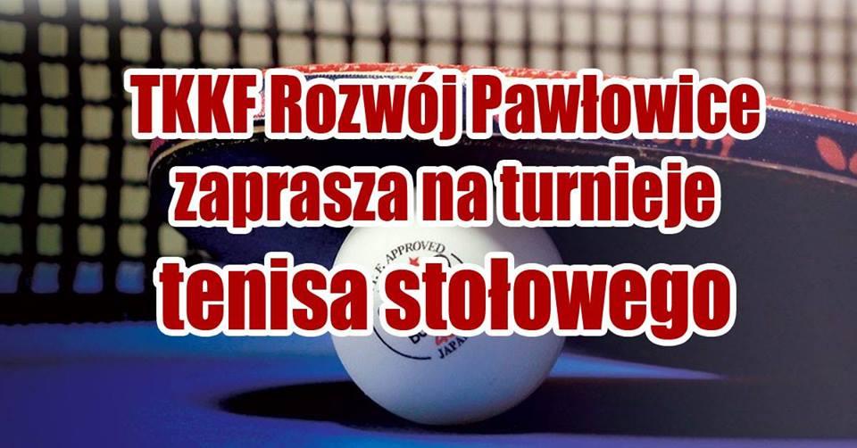 Plakat turnieju Turnieje tenisa stołowego w Pawłowicach- I turniej