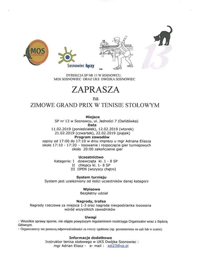 Plakat turnieju Zimowe Grand Prix w Sosnowcu- II turniej