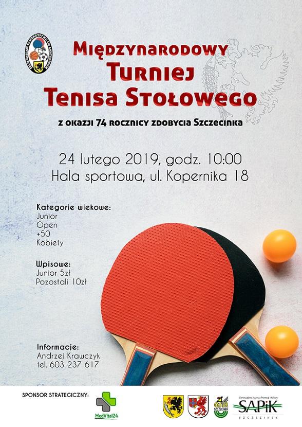 Plakat turnieju Międzynarodowy Turniej Tenisa Stołowego z okazji 74 rocznicy zdobycia Szczecinka