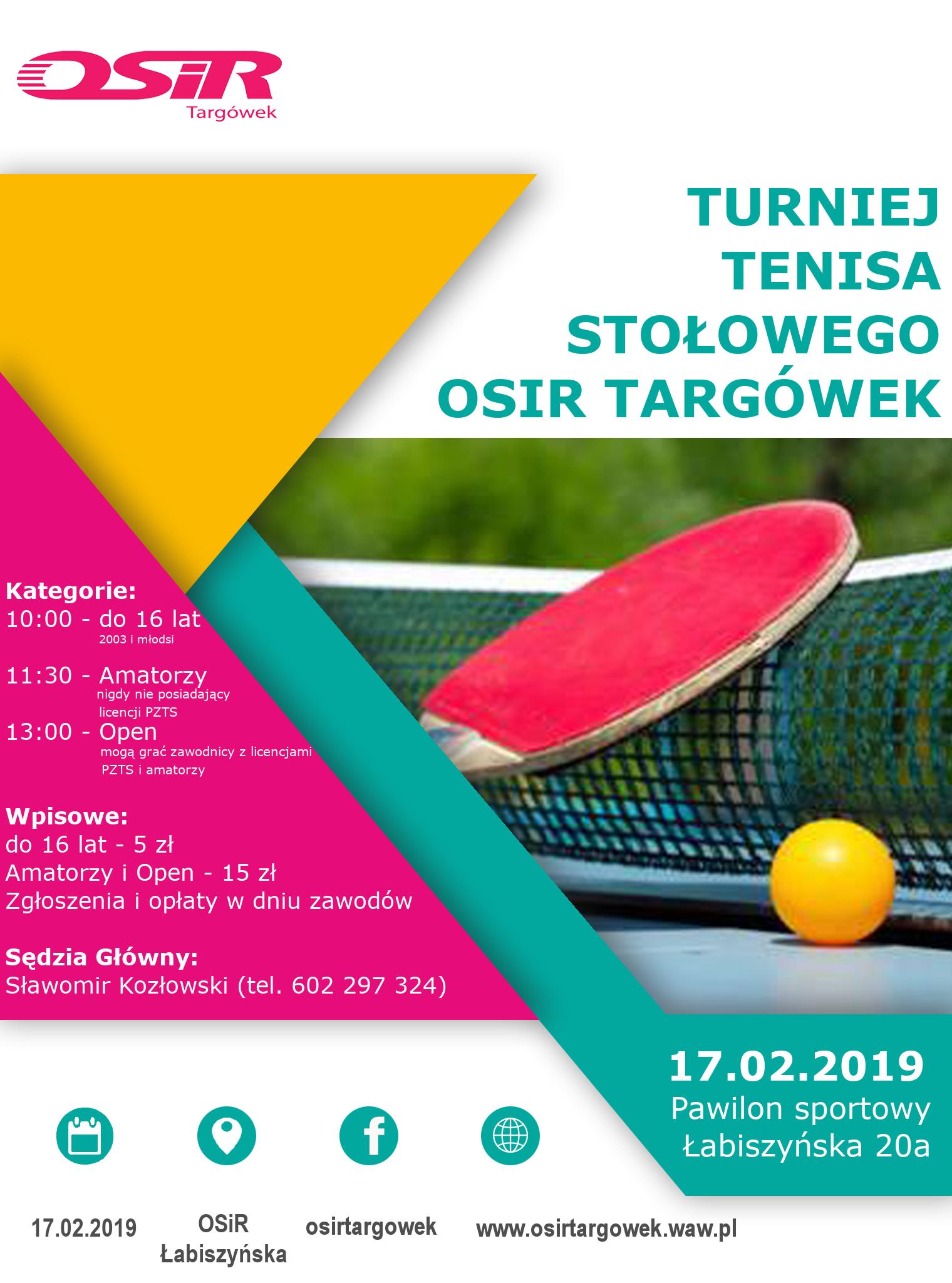 Plakat turnieju Cykl turniejów tenisa stołowego na Łabiszyńskiej
