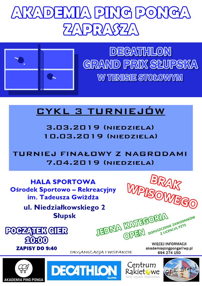 Plakat turnieju Decathlon Grand Prix Słupska- 1 turniej