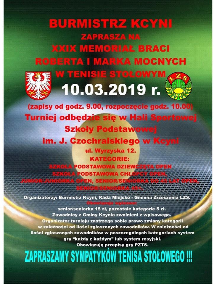 Plakat turnieju XXIX Memoriał Braci Mocnych w Kcyni