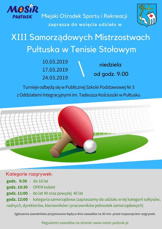 Plakat turnieju XIII Samorządowe Mistrzostwa Pułtuska w tenisie stołowym