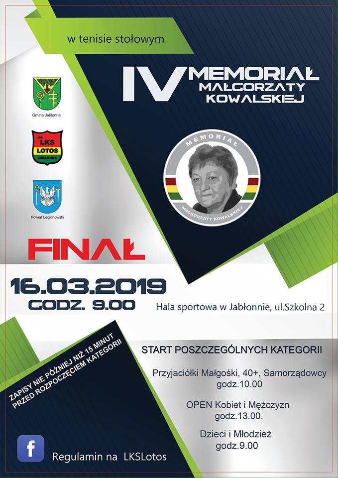 Plakat turnieju IV Memoriał Małgorzaty Kowalskiej w tenisie stołowym- turniej 4 termin (FINAŁOWY)