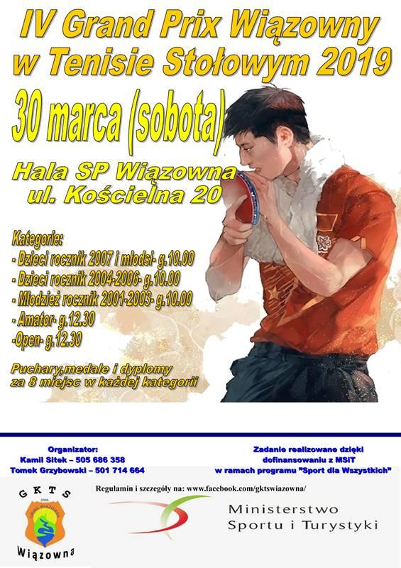 Plakat turnieju IV Turniej Grand Prix Wiązowny w Tenisie Stołowym 2019