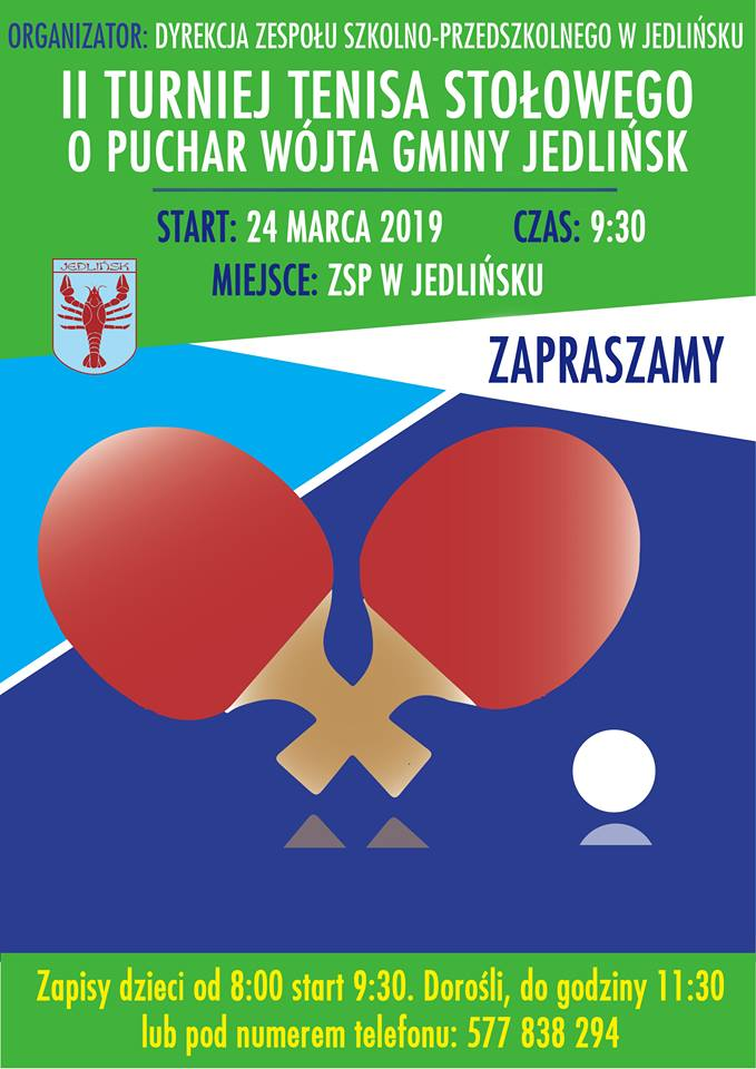 Plakat turnieju II Turniej Tenisa Stołowego o Puchar Wójta Gminy Jedlińsk