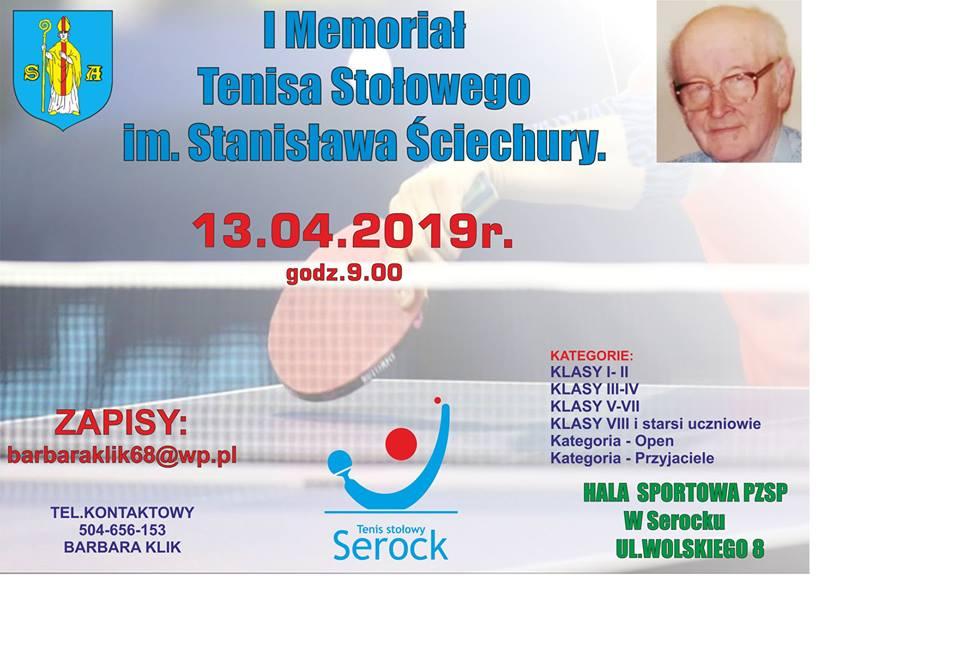 Plakat turnieju I TURNIEJ/ MEMORIAŁ TENISA STOŁOWEGO  im. Stanisława Ściechury