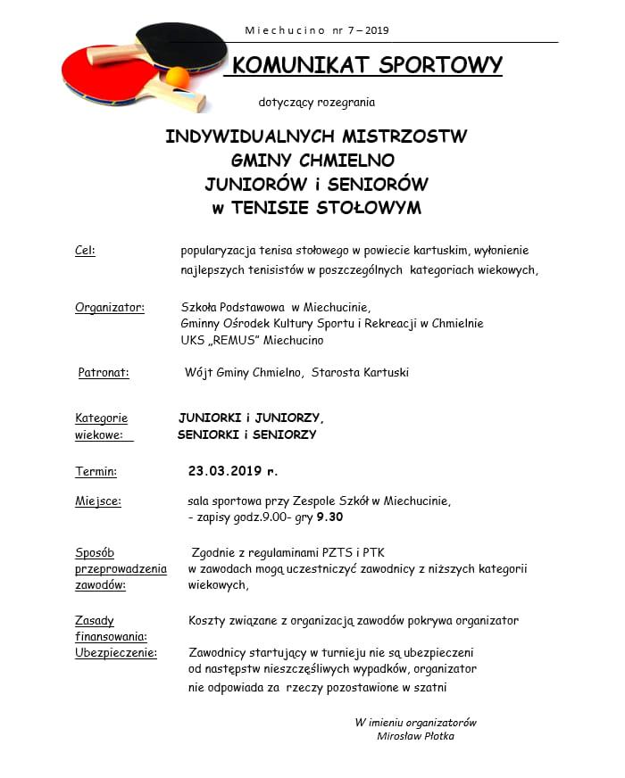 Plakat turnieju Mistrzostwa Gminy Chmielno juniorów i seniorów
