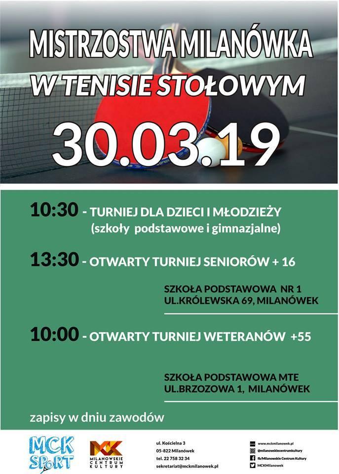Plakat turnieju Otwarte Mistrzostwa Milanówka w tenisie stołowym- Otwarte Mistrzostwa Weteranów