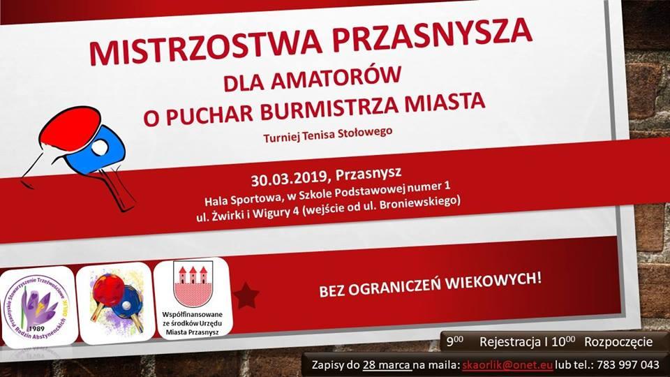 Plakat turnieju Mistrzostwa Przasnysza dla amatorów o Puchar Burmistrza Miasta