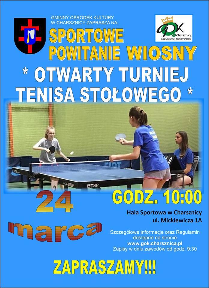 Plakat turnieju Otwarty Turniej Tenisa Stołowego w Charsznicy