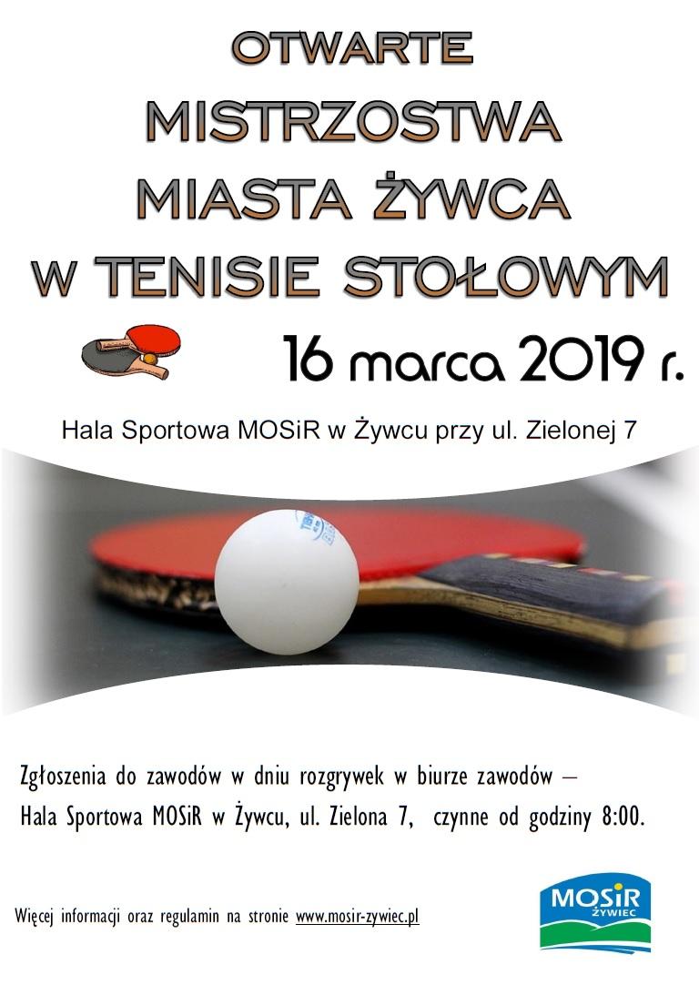 Plakat turnieju Otwarte Mistrzostwa Miasta Żywca w Tenisie Stołowym