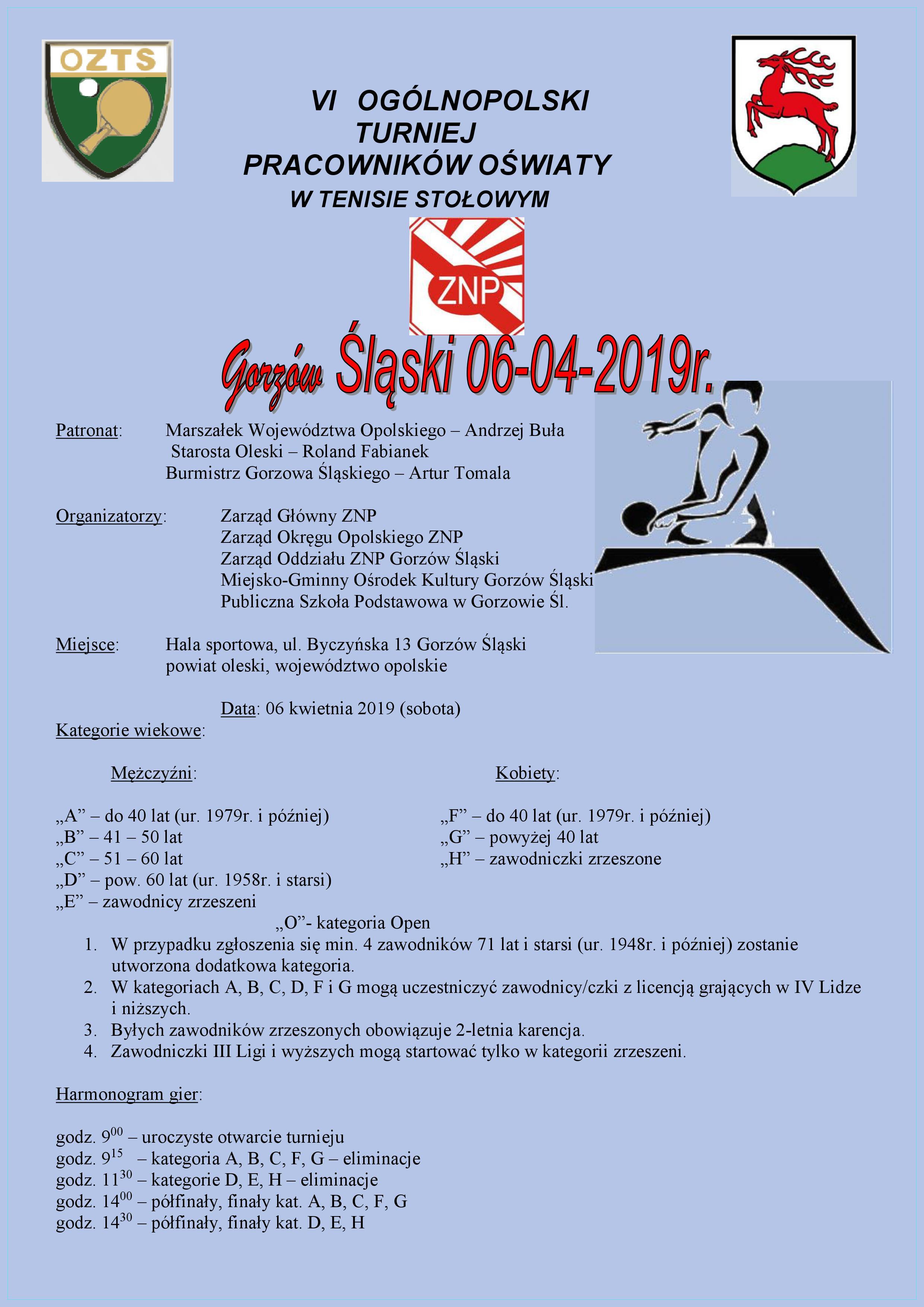 Plakat turnieju VI Ogólnopolski Turniej Nauczycieli i Pracowników Oświaty w Tenisie Stołowym