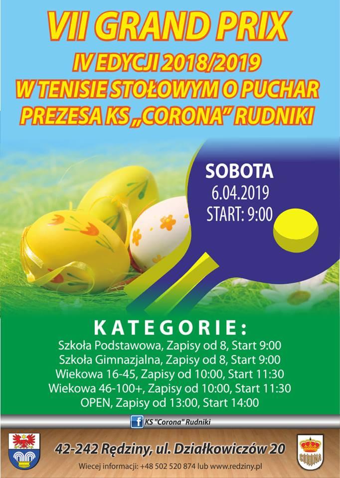 Plakat turnieju IV Grand Prix 6 spotkania o Puchar Wójta Gminy Rędziny
